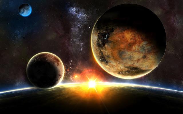 Foto de un amanecer en el espacio 1920x1200